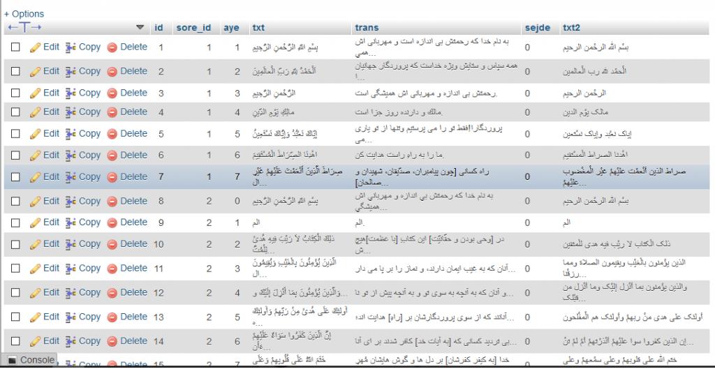 دیتابیس کامل قرآن